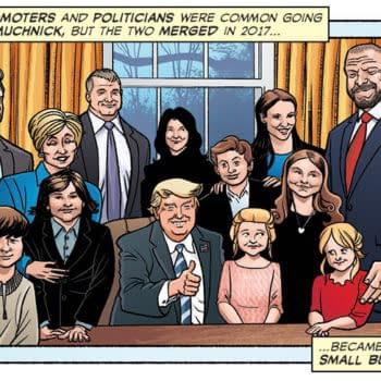 Artist Chris Moreno's interpretation of an actual photo of The McMahon family visiting their friend Donald Trump in the Oval Office, from the Comic Book Story of Professional Wrestling.