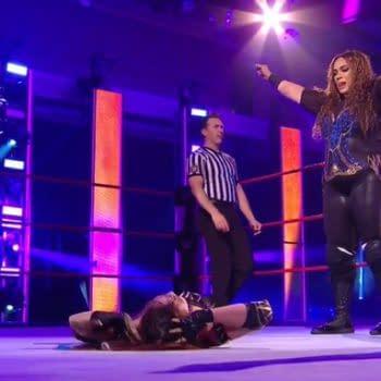 Nia Jax stands triumphant over Kairi Sane on WWE Monday Night Raw. [Broadcast/WWE]