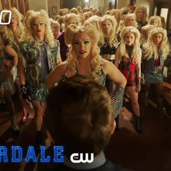 Kevin and the musical's cast confront the school's administration in Riverdale, courtesy of The CW.