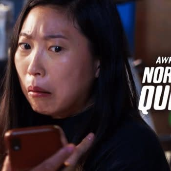 Awkwafina gets a text she was not expecting in Awkwafina Is Nora from Queens, courtesy of Comedy Central.