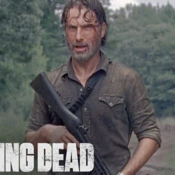 Rick Grimes discovers a mysterious helicopter on The Walking Dead, courtesy of AMC.