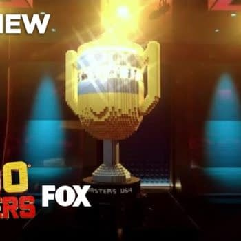 The trophy on display during the season finale episode of LEGO Masters, courtesy of FOX.