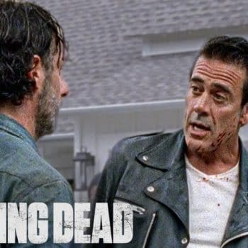 Negan wants some answers from Rick in The Walking Dead, courtesy of AMC.