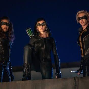 Juliana Harkavy as Dinah Drake/Black Canary, Katherine McNamara as Mia and Katie Cassidy as Laurel Lance/Black Siren in Arrow, courtesy of The CW.