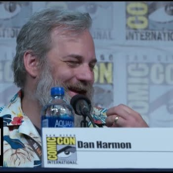 Dan Harmon speaks at a SDCC panel in support of Rick and Morty, courtesy of Adult Swim.