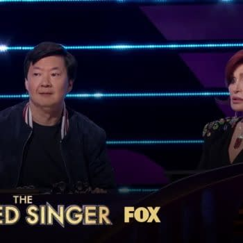 Ken Jeong and Sharon Osbourne on The Masked Singer, courtesy of FOX.