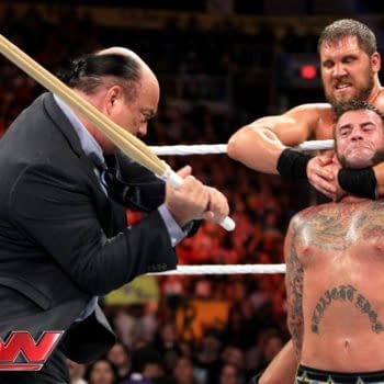 CM Punk takes on Curtis Axel on Monday Night RAW, courtesy of WWE.