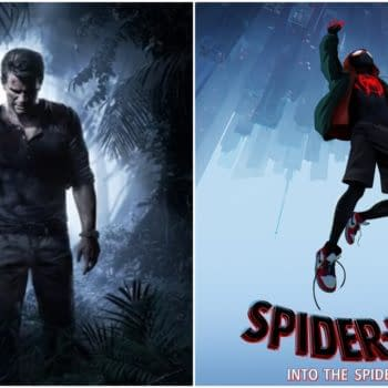 L: Official art for Uncharted 4: A Thief's End. Credit: Naughty Dog. R: The official poster for Spider-Man: Into the Spider-Verse. Credit: Sony Animation.