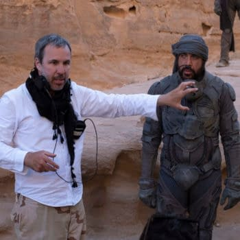 "Copyright: © 2020 Warner Bros. Entertainment Inc. All Rights Reserved. Photo Credit: Chiabella James Caption: (L-r) Director DENIS VILLENEUVE and JAVIER BARDEM on the set of Warner Bros. Pictures and Legendary Pictures' action adventure ""DUNE,"" a Warner Bros. Pictures release."