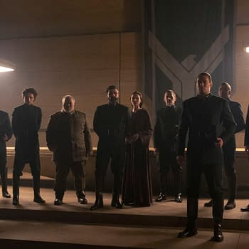 Copyright: © 2020 Warner Bros. Entertainment Inc. All Rights Reserved. Photo Credit: Chiabella James Caption: (L-r) TIMOTHÉE CHALAMET as Paul Atreides, STEPHEN MCKINLEY HENDERSON as Thufir Hawat, OSCAR ISAAC as Duke Leto Atreides, REBECCA FERGUSON as Lady Jessica Atreides, JOSH BROLIN as Gurney Halleck and JASON MOMOA as Duncan Idaho in Warner Bros. Pictures and Legendary Pictures' action adventure