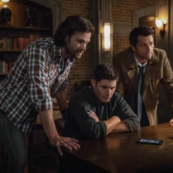 """Supernatural -- """"The Scar"""" -- Image Number: SN1403a_0310b.jpg -- Pictured (L-R): Jared Padalecki as Sam, Jensen Ackles as Dean/Michael and Misha Collins as Castiel -- Photo: Jack Rowand/The CW -- © 2018 The CW Network, LLC All Rights Reserved"""