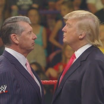 Vince McMahon and Donald Trump in a storyline face-off, courtesy of WWE.
