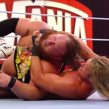 Dolph Ziggler chokes out Otis at WrestleMania 36.
