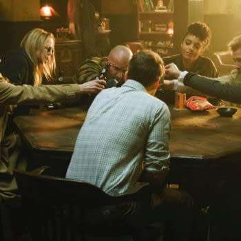 """Legends of Tomorrow -- """"I Am Legends"""" -- Image Number: LGN513b_0064b.jpg -- Pictured (L-R): Jes Macallan as Ava Sharpe, Caity Lotz as Sara Lance/White Canary, Dominic Purcell as Mick Rory/Heatwave, Maisie Richardson-Sellers as Charlie, Matt Ryan as Constantine, Tala Ashe as Zari and Nick Zano as Nate Heywood/Steel -- Photo: Jeff Weddell/The CW -- © 2020 The CW Network, LLC. All Rights Reserved."""