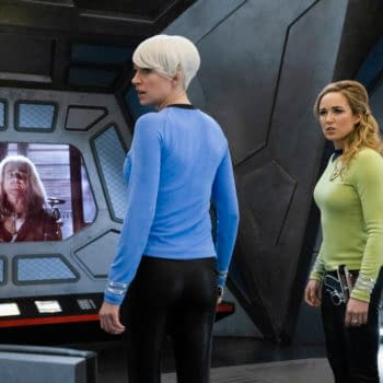 """DC's Legends of Tomorrow -- """"The One Where We're Trapped on TV"""" -- Image Number: LGN514b_0221b.jpg -- Pictured (L-R): Jes Macallan as Ava Sharpe and Caity Lotz as Sara Lance/White Canary -- Photo: Jack Jack Rowand/The CW -- © 2020 The CW Network, LLC. All Rights Reserved."""