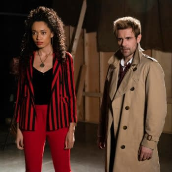 """DC's Legends of Tomorrow -- """"The One Where We're Trapped on TV"""" -- Image Number: LGN514b_0810b.jpg -- Pictured (L-R): Olivia Swan as Astra and Matt Ryan as Constantine -- Photo: Jack Jack Rowand/The CW -- © 2020 The CW Network, LLC. All Rights Reserved."""