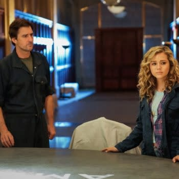 """Stargirl -- """"Icicle"""" -- Image Number: STG103c_0043b.jpg -- Pictured (L-R): Luke Wilson as Pat Dungan and Brec Bassinger as Courtney Whitmore -- Photo: Jace Downs/The CW -- © 2020 The CW Network, LLC. All Rights Reserved."""