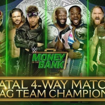 The New Day, Lucha House Party, Miz and Morrison, and the Forgotten Sons competed at Money in the Bank, courtesy of WWE.