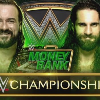 Seth Rollins challenged Drew McIntyre for the WWE Championship at Money in the Bank, courtesy of WWE.