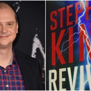 """L: Mike Flanagan at the US premiere of """"Doctor Sleep"""" at the Regency Village Theatre. Editorial credit: Featureflash Photo Agency / Shutterstock.com R: The cover of Revival. Credit: Scribner"""