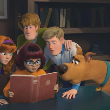 """Copyright: © 2020 Warner Bros. Entertainment Inc. All Rights Reserved. Photo Credit: Courtesy of Warner Bros. Pictures Caption: (L-r) Daphne voiced by AMANDA SEYFRIED, Velma voiced by GINA RODRIGUEZ, Shaggy voiced by WILL FORTE, Fred voiced by ZAC EFRON and Scooby-Doo voiced by FRANK WELKER in the new animated adventure """"SCOOB!"""" from Warner Bros. Pictures and Warner Animation Group."""
