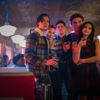 """Riverdale -- """"Chapter Seventy-Six: Killing Mr. Honey"""" -- Image Number: RVD419b_0576b -- Pictured (L - R): Cole Sprouse as Jughead Jones, Lili Reinhart as Betty Cooper, Casey Cott as Kevin Keller, KJ Apa as Archie Andrews and Camila Mendes as Veronica Lodge -- Photo: Kailey Schwerman/The CW -- © 2020 The CW Network, LLC. All Rights Reserved."""