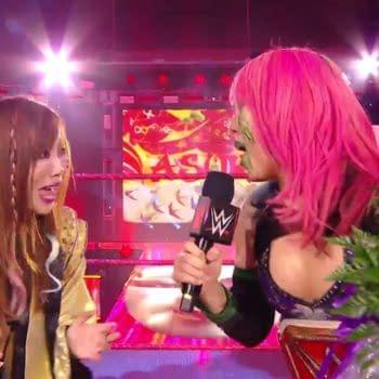 RAW Women's Champion Asuka takes the mic, courtesy of WWE.