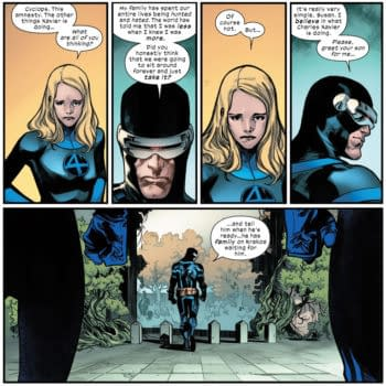 A scene from House of X #1 by Jonathan Hickman and Pepe Larraz