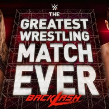 The match graphic for The Greatest Wrestling Match Ever happening at WWE Backlash