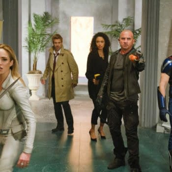"""Legends of Tomorrow -- """"Swan Thong"""" -- Image Number: LGN515c_0473b.jpg -- Pictured (L-R): Caity Lotz as Sara Lance/White Canary, Matt Ryan as Constantine, Olivia Swan as Astra, Dominic Purcell as Mick Rory/Heatwaveand Nick Zano as Nate Heywood/Steel -- Photo: Bettina Strauss/The CW -- © 2020 The CW Network, LLC. All Rights Reserved."""