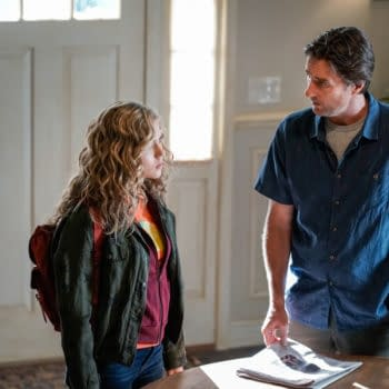 """Stargirl -- """"Hourman and Dr. Mid-Nite"""" -- Image Number: STG105a_0022b.jpg -- Pictured (L-R): Brec Bassinger as Courtney Whitmore and Luke Wilson as Pat -- Photo: Jace Downs/The CW -- © 2020 The CW Network, LLC. All Rights Reserved."""