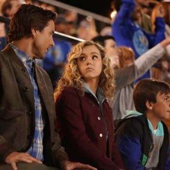 """Stargirl -- """"Shiv Part One"""" -- Image Number: STG107a_0147r.jpg -- Pictured (L-R): Luke Wilson as Pat Dugan, Brec Bassinger as Courtney Whitmore and Trae Romano as Mike Dugan -- Photo: Quantrell Colbert/The CW -- © 2020 The CW Network, LLC. All Rights Reserved."""