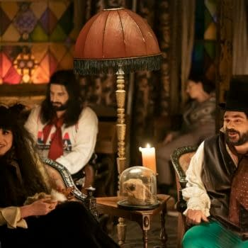 "WHAT WE DO IN THE SHADOWS -- ""Nouveau Théâtre des Vampires"" -- Season 2, Episode 10 (Airs June 10) Pictured: Natasia Demetriou as Nadja, Kayvan Novak as Nandor, Matt Berry as Laszlo. CR: Russ Martin/FX"
