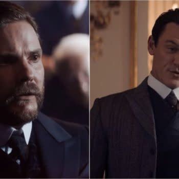 A look at Daniel Brühl's Dr. Laszlo Kreizler and Luke Evans' John Moore in The Alienist: Angel of Darkness (Image: TNT)