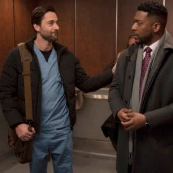 """NEW AMSTERDAM -- """"Double Blind"""" Episode 215 -- Pictured: (l-r) Ryan Eggold as Dr. Max Goodwin, Jocko Sims as Dr. Floyd Reynolds -- (Photo by: Virginia Sherwood/NBC)"""