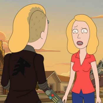 The two Beths finally meet on Rick and Morty (Image: Adult Swim).
