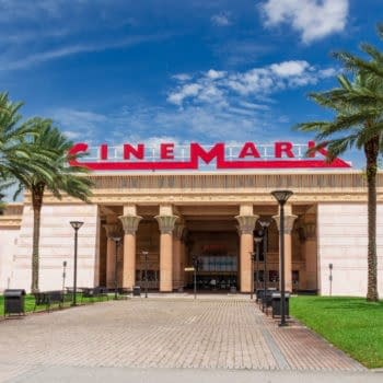 DAVIE, FLORIDA, USA - MAY 29, 2018: Front facade of Cinemark Paradise 24 movie theater with Egyptian theme. Editorial credit: Holly Guerrio / Shutterstock.com
