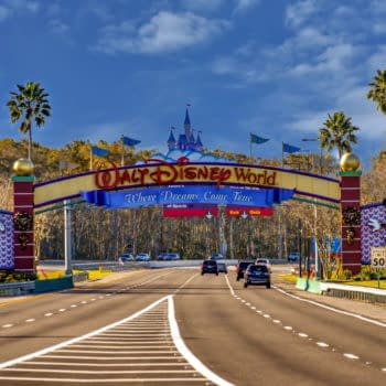 Orlando, Florida. January 11, 2019 Entrance Arch of Walt Disney Theme Parks at Lake Buena Vista area. Editorial credit: VIAVAL / Shutterstock.com