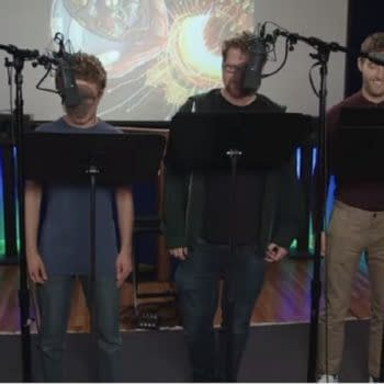 A rare look at the group recording of Solar Opposites (Image: Hulu)