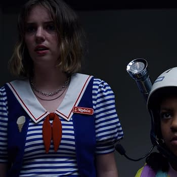 Stranger Things Team Talk Monster-in-the-Mall Scene New Faces