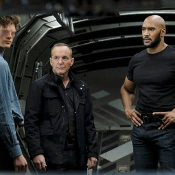 """MARVEL'S AGENTS OF S.H.I.E.L.D. -""""Stolen"""" Ð After EnochÕs sacrifice propelled them out of the time storm, the team arrives back in 1983 where Nathanial and Kora are hard at work building an army of hand-selected anarchist Inhumans at Afterlife. When the agents split up to cover more ground, Daisy is tasked with protecting Jiaying and is compelled to confront her mother for the first time since her death; while the others quickly learn theyÕll need to face yet another supercharged former enemy in order to stop Malick on """"MarvelÕs Agents of S.H.I.E.L.D.,"""" airing WEDNESDAY, JULY 29 (10:00Ð11:00 p.m. EDT), on ABC. - (ABC/Jessica Brooks) FIN ARGUS, CLARK GREGG, HENRY SIMMONS"""