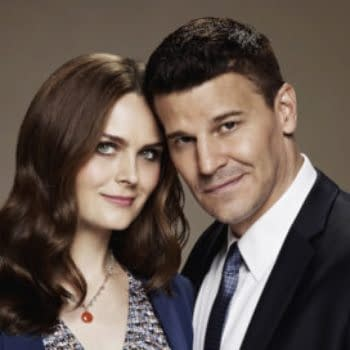 BONES: Emily Deschanel as Dr. Temperance Brennan and David Boreanaz as FBI Special Agent Seeley Booth. The eleventh season of BONES premieres Thursday, Oct. 1 (8:00-9:00 PM ET/PT) on FOX. ©2014 Fox Broadcasting Co. Cr: Brian Bowen Smith/FOX