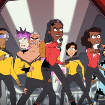 Pictured (l-r): Eugene Cordero as Ensign Rutherford, Boiler, Fred Tatasciore as Lieutenant Shaxs, Dawnn Lewis as Captain Freeman, Ensign Barnes played by Jessica McKenna, Tawny Newsome as Ensign Mariner, Gillian Vigman as Dr. T'ana of the CBS All Access original series, STAR TREK: LOWER DECKS. Photo Cr: Best Possible Screen Grab CBS 2020 CBS Interactive, Inc. All Rights Reserved.