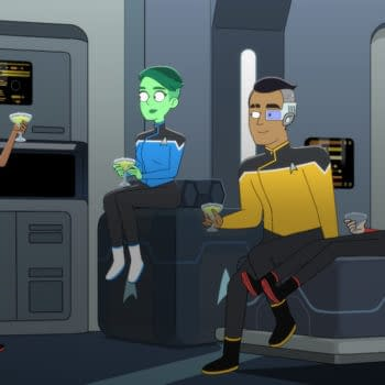 Pictured (l-r): Tawny Newsome as Ensign Mariner, Noel Wells as Ensign Tendi, Eugene Cordero as Ensign Rutherford, Jack Quaid as Ensign Boimler of the CBS All Access original series, STAR TREK: LOWER DECKS. Photo Cr: Best Possible Screen Grab CBS 2020 CBS Interactive, Inc. All Rights Reserved.