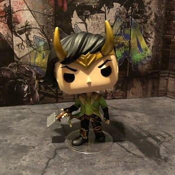 Loki Holds Mjolnir in the FCBD 2020 Funko Mystery Box