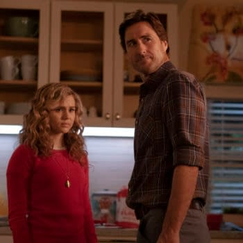 """Stargirl -- """"Brainwave"""" -- Image Number: STG109b_0097r.jpg -- Pictured (L-R): Brec Bassinger as Courtney Whitmore and Luke Wilson as Pat Dugan -- Photo: Mark Hill/The CW -- © 2020 The CW Network, LLC. All Rights Reserved."""