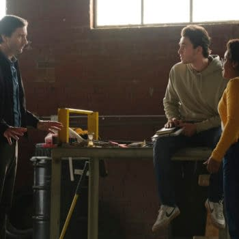 """DC's Stargirl -- """"Shining Knight"""" -- Image Number: STG111a_0623r.jpg -- Pictured (L-R): Luke Wilson as Pat Dugan, Cameron Gellman as Rick and Anjelika Washington as Beth Chapel -- Photo: Mark Hill/The CW -- © 2020 The CW Network, LLC. All Rights Reserved."""