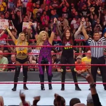Trish Stratus and Lita team with Sasha Banks and Bayley in happier times.
