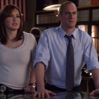 Mariska Hargitay and Christoper Meloni in Law & Order: SVU (Image: NBCUniversal).