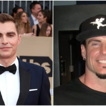 L-R: Dave Franco at the 24th Screen Actors Guild Awards - Press Room at Shrine Auditorium on January 21, 2018 in Los Angeles, CA. Editorial credit: Kathy Hutchins / Shutterstock.com | Rob Van Winkle aka Vanilla Ice in 2010. Rick Marshall / CC BY (https://creativecommons.org/licenses/by/2.0)